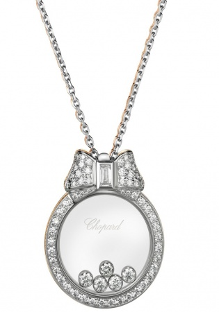18kt white chopard round diamond pendant with diamond bow