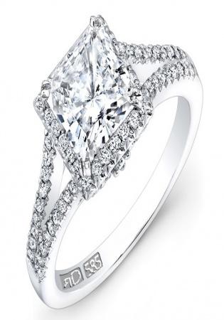 Ronaldo diamond 0.60 carat 18k white gold split shank square halo engagement ring fm28085