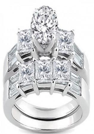 14k white gold round princess & baguette diamond ladies bridal 3 stone engagement ring wedding band set 3 1/10 ct