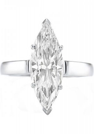 Certified 0.95 carat (ctw) 14k white gold real marquise cut diamond ladies engagement solitaire ring