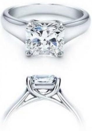 14k white gold real princess diamond 0.82 carat engagement ring