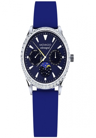 Movado heritage navy dial diamonds swiss watch