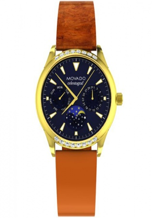 Movado heritage navy dial diamonds yellow gold pvd luxury swiss watch