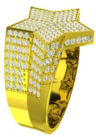 Men's rnd1000 10k yellow diamond iced star gold engagement ring by ronaldo diamond
