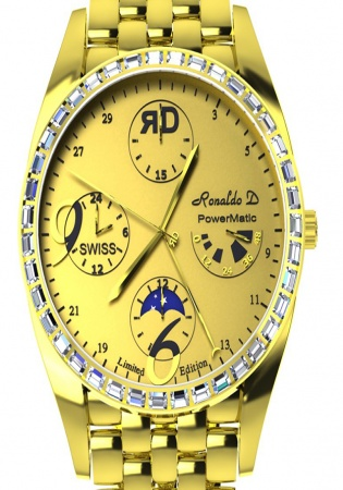Ronaldo diamond rd8811 captain moonphase power reserve 18k yellow gold and baguette diamonds