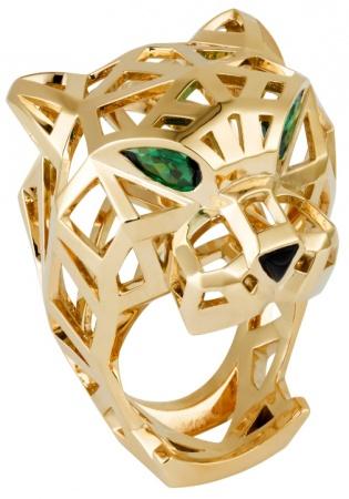 panthere de cartier' ring yellow gold tzavorite garnets onyx