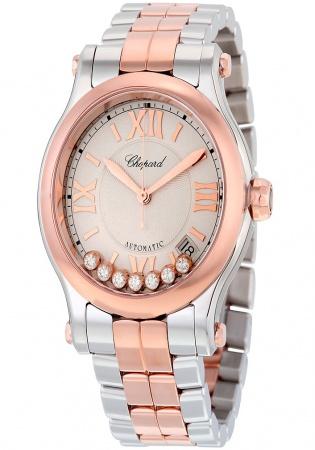 Chopard 278559 6002 happy sport diamond stainless steel gold automatic women' watch