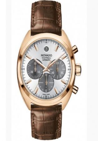 Movado datron 18k rose chrono gold men' watch