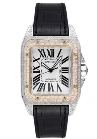 Cartier santos 100 l gold bezel diamond set automatic watch