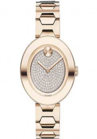 Movado bold crystal pavé rose gold tone women' watch 3600493