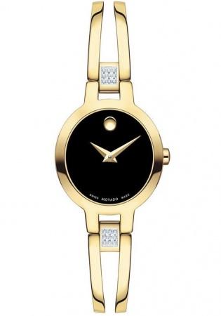 Movado amorosa yellow pvd diamond swiss quartz women's watch 0607155