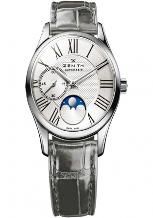 Zenith elite ultra thin moonphase automatic stainless steel women' watch