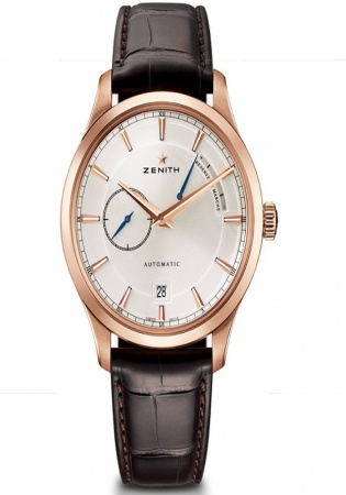 Zenith captain power reserve silver dial 18kt rose gold men's watch