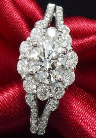 Luxury 3 ct effect lady engagement wedding ring pure 750 white gold diamond
