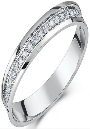 Platinum flat court diamond half eternity wedding ring