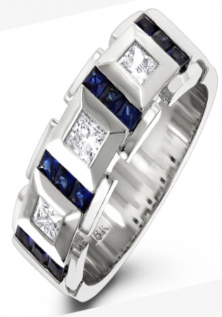 18k white gold unique diamond and sapphires band for men italy