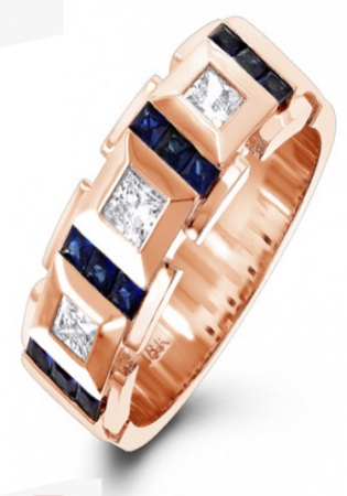 18k rose gold unique diamond and sapphires band for men italy