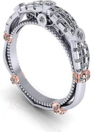 Verragio pave 14k w gold diamond wedding band women' ring