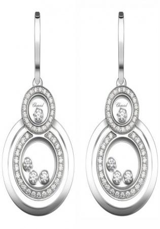 Chopard happy 8 diamond & 18k white gold drop earrings women's