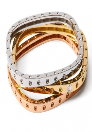 Roberto coin diamond bangle bracelet three color 18k gold