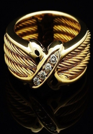 Vintage philippe charriol ring diamonds 18k solid gold