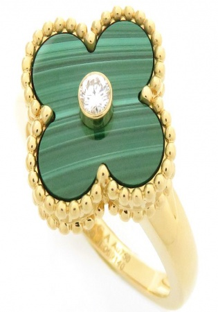 Van cleef & arpels vintage alhambra diamond 18k yellow gold women' ring