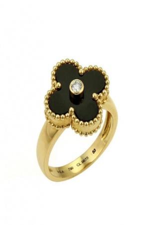Van cleef & arpels vintage alhambra black diamond 18k yellow gold women' ring