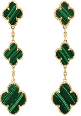 Van cleef & arpels diamond 18k yellow gold magic alhambra earrings 3 motifs