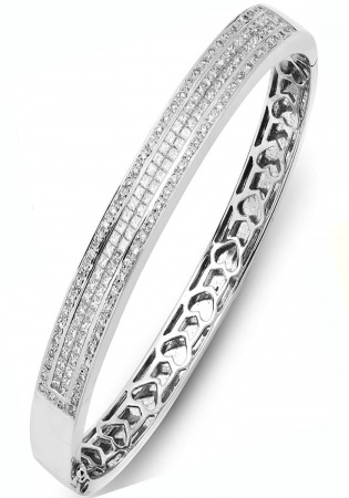 Jewelco london ladies 18ct white gold channel set round brilliant g si 2.75ct diamond eternity bangle bracelet