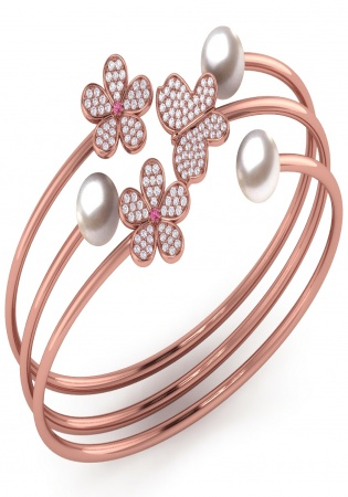 14k rose gold diamond and pink sapphire & white pearl butterfly flower bangle bracelet