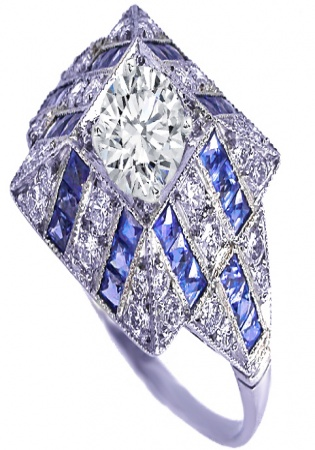 14k white gold art deco blue sapphire diamond dome engagement ring