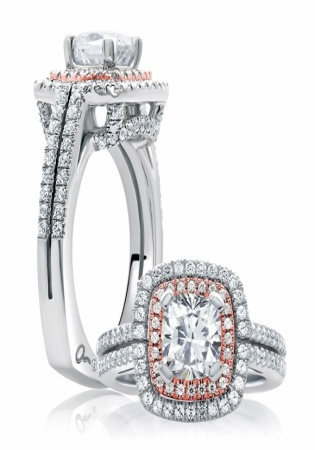A. jaffe art deco two-tone diamond engagement ring setting