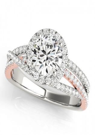 14k white mutli row diamond halo engagement ring in rose & white gold