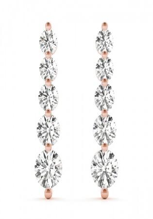 5 diamond journey earrings 14k rose gold earring