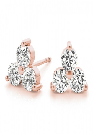 3 stone triangle diamond earring 14k rose gold earring