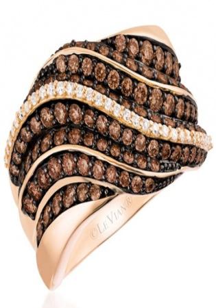 Chocolatier chocolate diamond strawberry 585 gold pavé ring