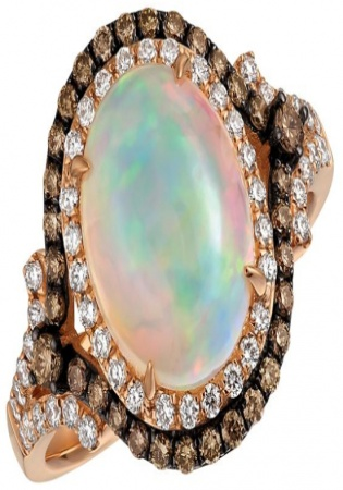 Le vian chocolatier neopolitan opal and 14k strawberry gold ring