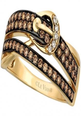 Le vian chocolatier chocolate diamonds vanilla diamonds and 14k honey gold ring