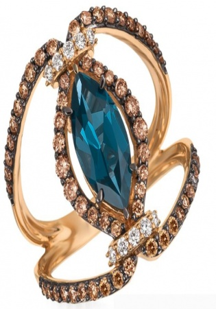 Deep sea blue topaz vanilla and chocolate diamond 14k strawberry gold pendant ring