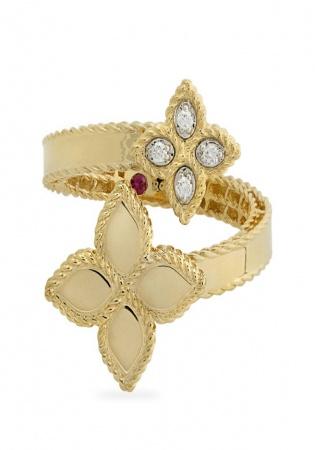 18k gold diamonds princess flower ring