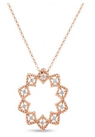 Roberto coin 18k rose gold diamonds roman barocco pendant