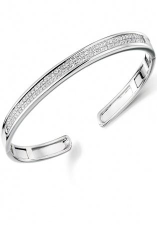 Lance james 9ct white gold 2.00ct princess cut diamond cuff bangle