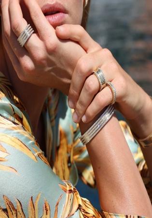 Roberto coin 18k rose gold diamonds portofino four rows bracelet