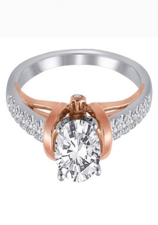 1/4 ct. tw. diamond semi mount engagement ring in 14k white & rose gold