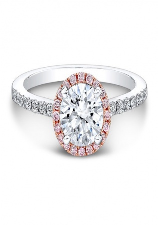 Natalie 18k white and rose gold pink and white diamond halo engagement ring