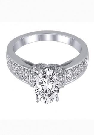 Helzberg 3/8 ct. tw. diamond semi-mount engagement ring in 14k white gold