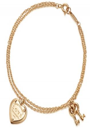 Tiffany & co. love heart tag key pend 18k rose gold bracelet