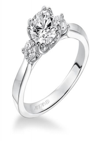 Artcarved 14k wg diamond three stone engagement ring with round accent stones engagement ring