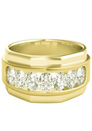 Helzberg 1 ct tw diamond band in 10k yellow gold 6mm men's ring