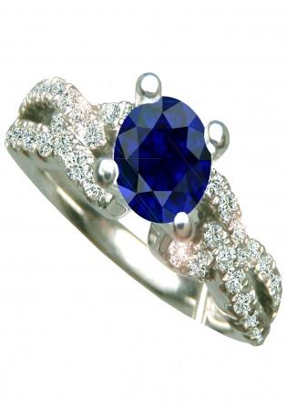 Hallmark 0.95ct blue sapphire diamond au 750 engagement ring by hm